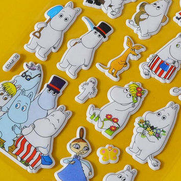 Cute 3D Noctilucent Moomin Label Stickers Decorative Stationery Stickers Scrapbooking DIY Stickers Diary Album Stick Label