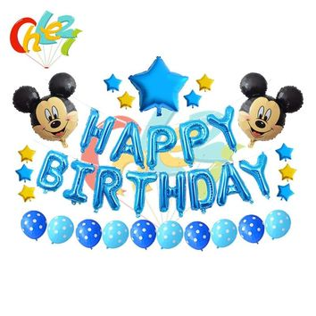 1 set Mickey Mouse Minnie helium Foil balloons Happy Birthday alphabet letters hanging Ballon Kids Party Decorations Baby shower