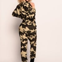 Calling the Shots Cargo Jumpsuit - Camo