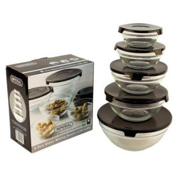 5 Piece Glass Bowls w/ Black Plastic Lids