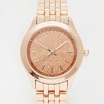 New Look Rose Gold Glitter Face Watch