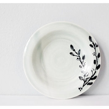 Small pottery plate aqua pale mint and leaf plant drawing in black