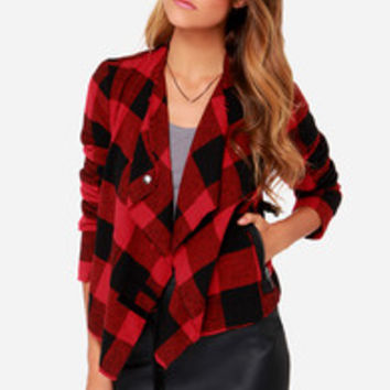BB Dakota Rosanna Black and Red Plaid Jacket