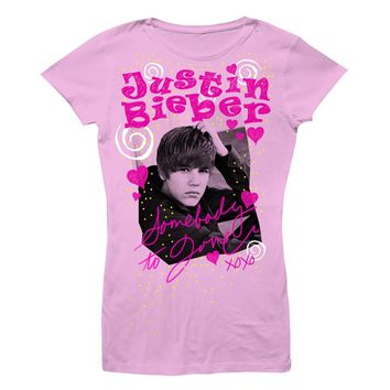 Justin Bieber Somebody To Love - Youth Pink Heather T-Shirt