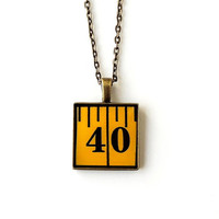 Number 40 Necklace, Tape Measure in a Resin Pendant, Sewing Jewelry, Resin Jewelry, Number Jewelry, Lucky Number, Quirky Jewelry Jewellery
