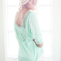 Relaxing In Lace Dolman Top Mint