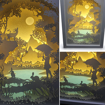 Silhouette  Forest trip paper cut Light box Night light Accent Lamp Valentine's Day gift wedding birthday gift idea shadow box nursery room
