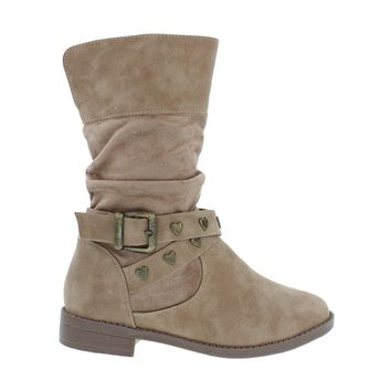 Studded Buckle Kids Flat Boot (TAUPE)