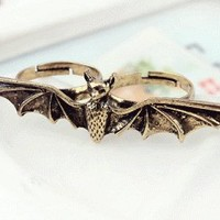 Flying Bat Double Fingers Ring | LilyFair Jewelry