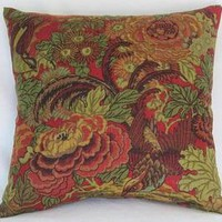 Covington Abbotsford Pillow Cover with Birds and Flowers in Red, Teal, Gold