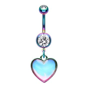 WILDKLASS Rainbow Illuminating Moonstone Heart Belly Button Ring