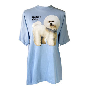 Bichon Frise Dog Shirt 90s Graphic T Shirt Puppy Kitsch Kawaii Screen Print Vintage 1990s Animal Tshirt Retro Tee Baby Blue XL