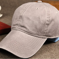 Gray Retro Washed Cotton Baseball Cap