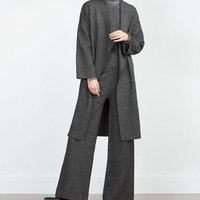 Long-Sleeve Lapel None Button Knitted Long Cardigan