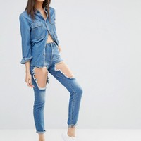 Missguided Tall High Waisted Thigh Rip Skinny Jeans