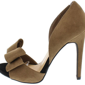 EVELYN24 TAUPE BOW D'ORSAY OPEN TOE HEEL