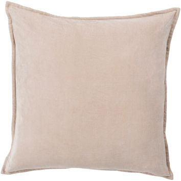 Cotton Velvet Throw Pillow - Taupe