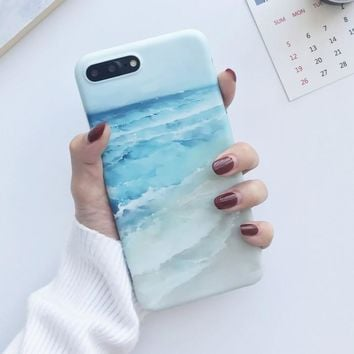 Blue Waves beach painted case for iphone