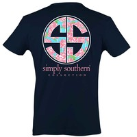 Simply Southern Preppy Collection Rose Logo T-shirt for Women in Navy PRPROSELOGO-NAVY