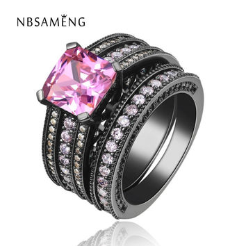 Black Gold Plated Ring Vintage Wedding Sets For Women Pink Stone Fashion Party Women Jewelry Rings SMJ116