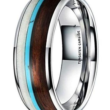 CERTIFIED 8MM Nature Wood Calaite Inlay Dome Tungsten Carbide Wedding Ring