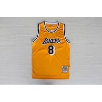LA Lakers #8 Kobe Bryant 1996-1997 Season Yellow Swingman Jersey