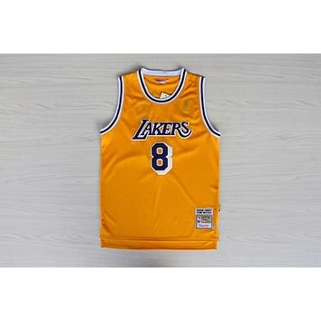e0b8c55f5480 LA Lakers  8 Kobe Bryant 1996-1997 Season Yellow Swingman Jersey