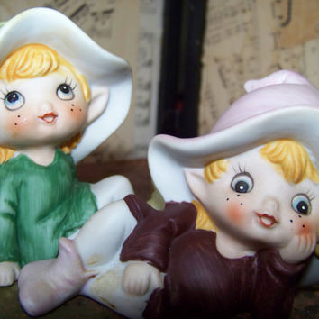 Vintage Homco Pixie Figurine Pair--Ceramic--Porcelain--Elves--Tabletop Decor--Home Interiors--Sixties--Knick Knacks--My Vintage Home