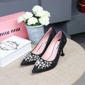 Prada Miu Miu Glitter Pumps With Crystals Black - Best Deal Online