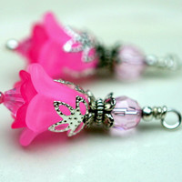 Vintage Style Pink Lucite Flower and Pink Crystal Bead Drop Dangle Set