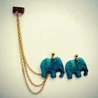 alapop — turquoise elephant ear cuff earrings