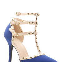 Royal Blue Faux Nubuck Studded Pointed Toe Single Sole Heels