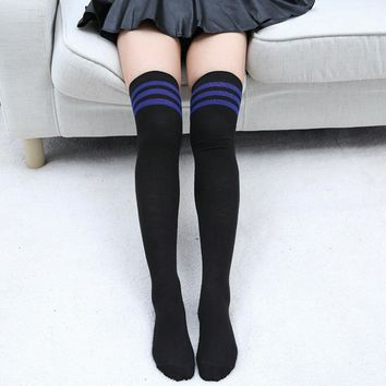Striped Knee Socks Women Cotton Thigh High Over Stockings For Ladies Fashion New