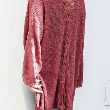 All Things Pretty Scarlet Knit Open Sweater Cardigan