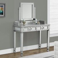 """Brushed Silver / Mirrored 36""""L Vanity with 2 Drawers"""