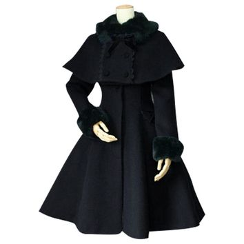 Custom Tailored Women's Winter Coat Retro Style Female Two Piece Long Coat with Poncho Jacket