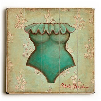 Turquoise Bathing Suit by Artist Colette Cosentino Wood Sign