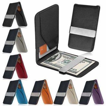 Mens Leather Silver Money Clip Slim Wallets Black ID Credit Card Holder FreeShip