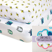 Fitted Crib Sheets - 100% Organic Jersey Cotton - 2-Pack, Extremely Soft, Breathable, Cuddly, Snugly Fits all Standard Crib Mattresses, Finest Organic Cotton, for Boys or Girls