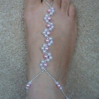 Barefoot Sandals White And Pink Pea.. on Luulla