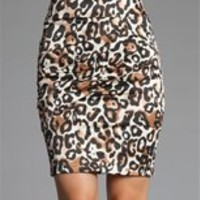 Leopard Print Diagonal Tiered Pencil Skirt