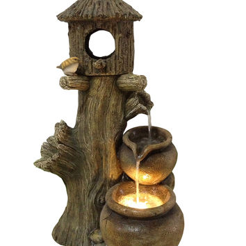 Tiering Pot Fountain with Birdhouse - LED
