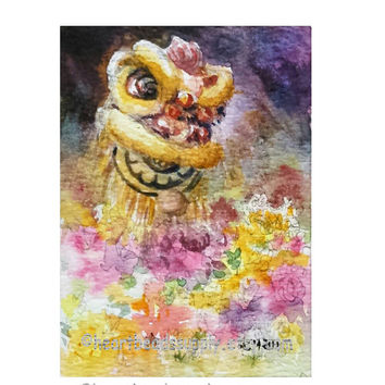 Aceo, Stop and smell the flowers, liondance, peinture, miniature painting, landscape id20160528 original watercolor, not a print, wallart