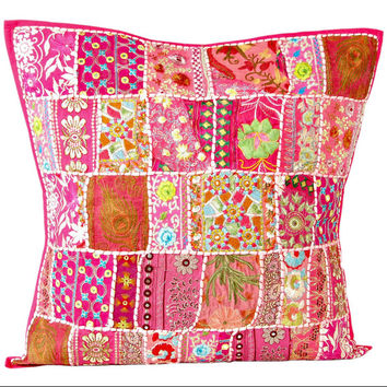 24 x 24 Pillow Cover, Vintage Throw Pillow, Decorative Pink Pillow, Indian Pillow Cover, Pillowcase, Indian Cushion Cover, Large Pillow