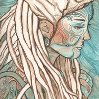 BOHEMIAN 8.5 x 11 print of detailed watercolour in earth tones with blends of teal turquoise and olive green, gypsy hippie dreads avatar