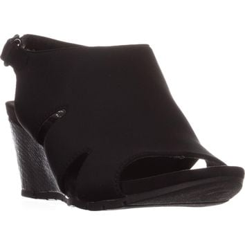 Bandolino Galedale Peep Toe Wedge Sandals, Black, 6 US