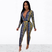 Women Sexy Deep V-Neck Front Zipper Snake Print Long Sleeve Jumpsuit