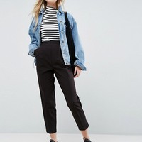 ASOS High Waist Tapered Trousers at asos.com