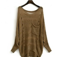 Cool Bat Sleeve Hole Sweater -Ds