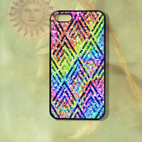 Sparkling Rainbow Chevron-iPhone 5, iphone 4s, iphone 4, Samsung GS3 case, Ipod touch case-Silicone Rubber / Hard Plastic Case, Phone cover